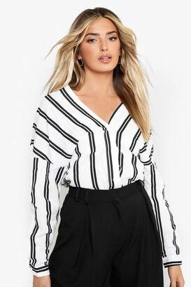 boohoo Striped Button Through Collarless Shirt