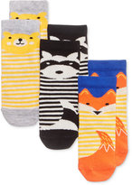 First Impressions 3-Pk. Striped Animal Crew Socks, Baby Boys and Girls (0-24 months), Created for Macy's