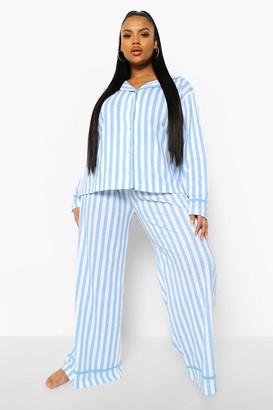 boohoo Plus Candy Stripe Jersey Long Pj Set