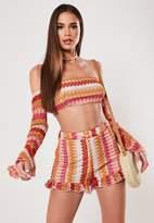Missguided Red Co Ord Crochet Frill Hem Shorts