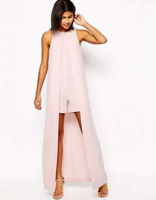 Asos Design Occasion Playsuit with Maxi Cape Detail-Pink