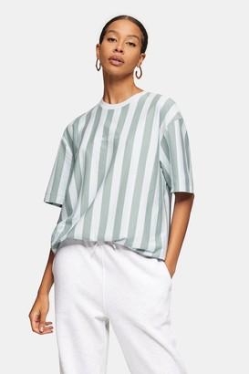 Topman Womens Green And Blue Striped T-Shirt - Green