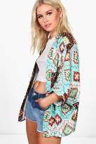 boohoo Kaley Aztec Print Chiffon Kimono multi