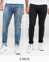 Asos Skinny Jeans 2 Pack In Black & Mid Blue SAVE