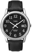 Timex Men's Easy Reader® Watch with Leather Strap - Silver/Black T2N370JT