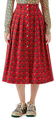 Gucci Women's Stirrup Rain Print Button Midi Skirt