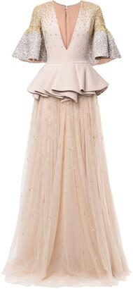Saiid Kobeisy Peplum Embroidered Maxi Dress