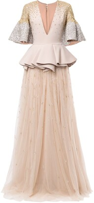 Saiid Kobeisy Peplum Embroidered Maxi Dress