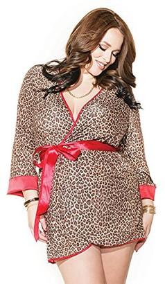 Coquette Women's Plus-Size Leopard Robe
