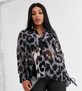 Religion Plus oversized shirt in leopard