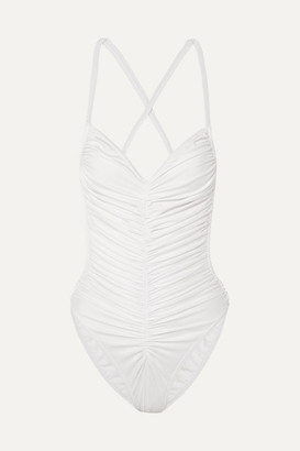 Norma Kamali Butterfly Mio Ruched Swimsuit - White