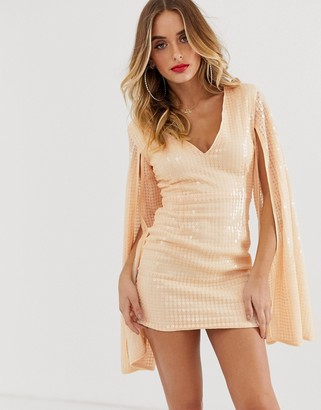 Rare London liquid sequin mini dress in peach