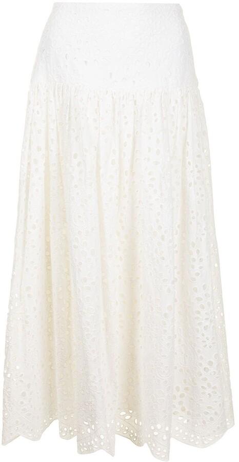 Bambah Broderie Anglaise Midi Skirt