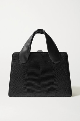 Little Liffner Lizard-effect And Smooth Leather Tote - Black
