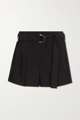 3.1 Phillip Lim Belted Pleated Cotton-blend Shorts - Black
