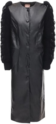 Faux Leather Coat W/ Knit Sleeves