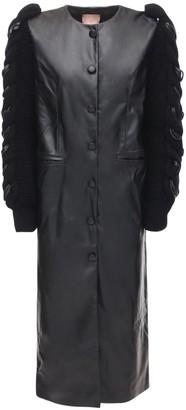 LIYA Faux Leather Coat W/ Knit Sleeves