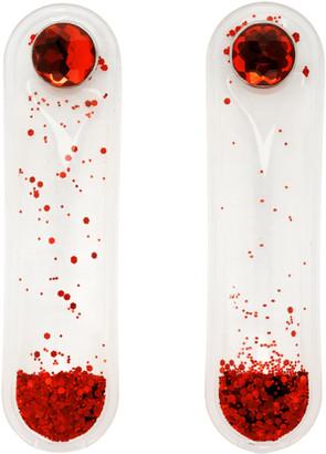 Christopher Kane Red Glitter Earrings