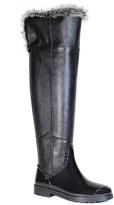 Bamboo Black Faux Fur-Cuff Stormy Rain Boot