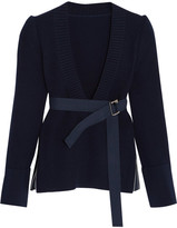 Sacai Belted Ribbed Wool Sweater - Navy