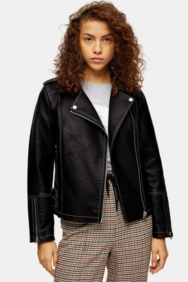 Topshop Womens Faux Leather Pu Stitched Jacket - Black