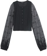 Ann Demeulemeester Floral lace sleeve jersey cropped cardigan