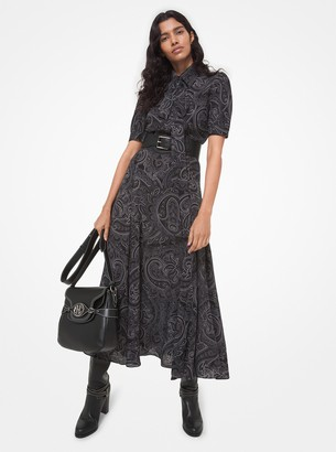Michael Kors Collection Paisley Silk Georgette Tie-Neck Shirtdress