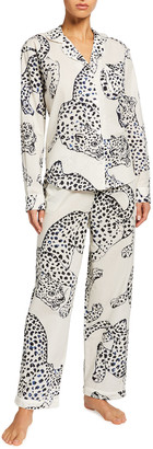 Desmond & Dempsey Large Leopard Long-Sleeve Pajama Set