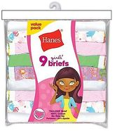 Hanes Girls' No Ride Up Cotton Colored Brief Panties 9-Pack