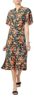 Joie Joan Floral Silk Midi Dress