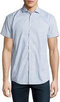 English Laundry Printed Short-Sleeve Sport Shirt, Blue/White