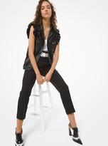Michael Kors Plonge Leather Ruffled Moto Vest