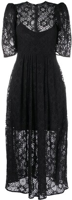 MSGM Floral Lace Pleated-Waist Midi Dress