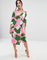 Traffic People Geo Print 3/4 Sleeve Wrap Dress