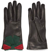 Gucci Bow-embellished Textured-leather Gloves - Black