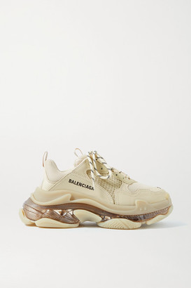 Balenciaga Triple S Clear Sole Logo-embroidered Leather, Nubuck And Mesh Sneakers - Beige