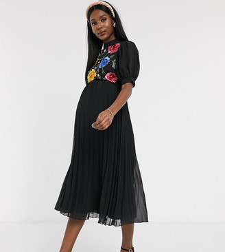 ASOS DESIGN Maternity embroidered high neck pleated midi dress with puff sleeve in black