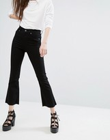 Cheap Monday High Waist Crop Kick-Flare Jean With Raw Edge