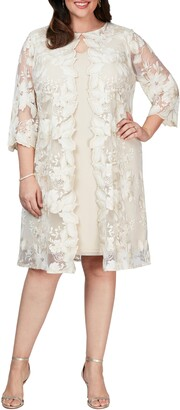 Alex Evenings Embroidered Mock Jacket Cocktail Dress