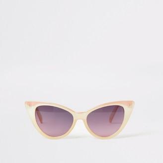 River Island Girls Pink iridescent cateye sunglasses