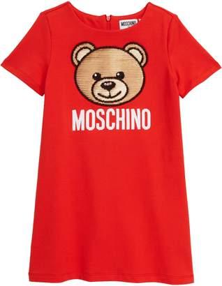 Moschino Sequin Bear Logo Dress