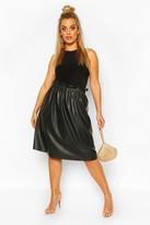boohoo Plus Pu Pleated Midi Skirt