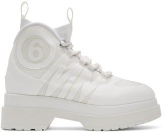 MM6 MAISON MARGIELA White Logo Ankle Boots