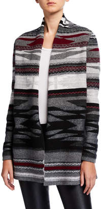Neiman Marcus Navajo Stripe Open-Front Cashmere Cardigan