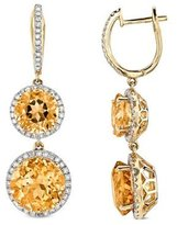 Victoria Kay 11 1/5ct Citrine and 3/4ct White Diamond Earrings in 14k Yellow Gold (JK, I2-I3)