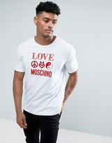 Love Moschino T-shirt In White With Symbol Logo