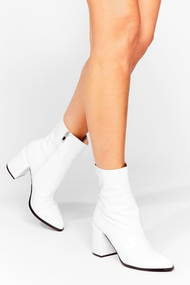 Nasty Gal Womens Toe to Toe Patent Heeled Boots - White