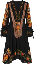 Etro Crochet-trimmed Printed Silk Crepe De Chine Dress