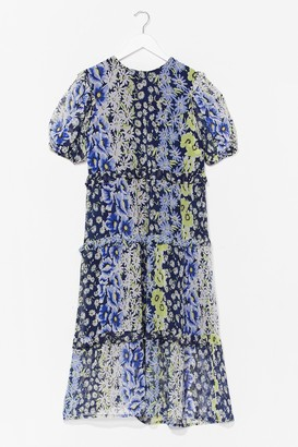 Nasty Gal Womens Growing Round in Circles Floral Midi Dress - Blue - 12