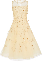Oscar de la Renta Floral-Appliqued Tulle Dress